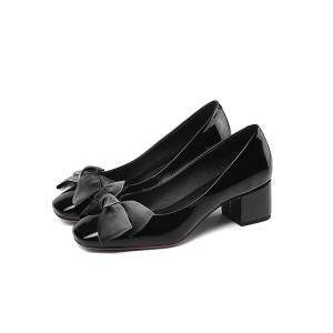 England Style Ladies Black Low-Heel Big Sole Shoes