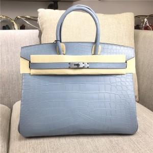 High Quality Famous Brand Grey Alligator Skin Ladies Handbags