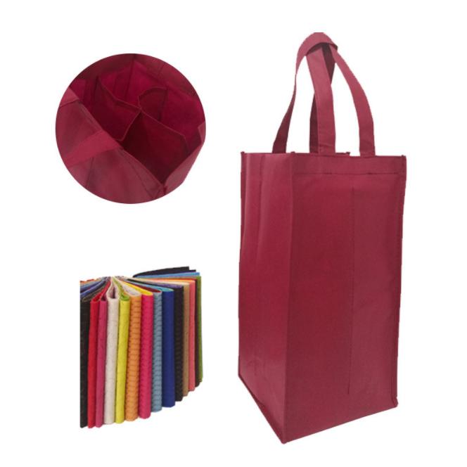 Non woven wine bag for four wine bottles, two wine bottles
