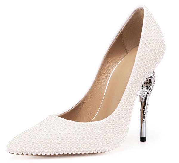 11cm Hippocampus Heel White Rhinestone Crystal Shoes