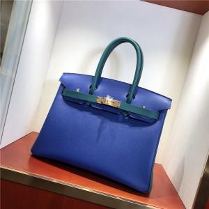 Famous Brand Blue Epsom Leather Ladies Bags Handbag 30cm 35cm