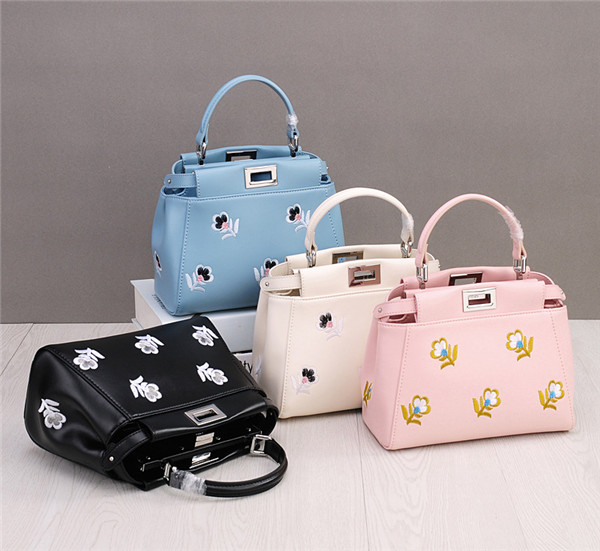 Famous Brand Flower Embroidery Leather Bags Handbags Women Long Strap Messager Bag Featured Image