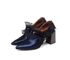 Women 7.5cm Heel Sheepskin Stylish Lace Shoes