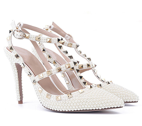 Women Gorgerouse Shoes With White Rhinestone Crystal