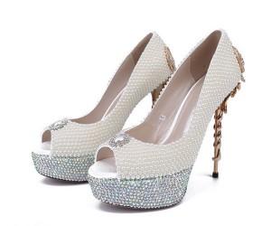 16cm Super High Heel White Rhinestone Sexy Stiletto Pumps Shoes Womens