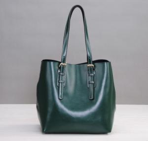 Custom made green leather Shopping Bag Fashion Ladies Bag