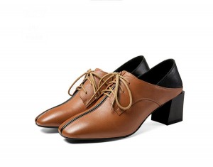 Women 5.5cm Middle-Heeled Tan Leather Stylish Step-On Shoes With Shoeslace