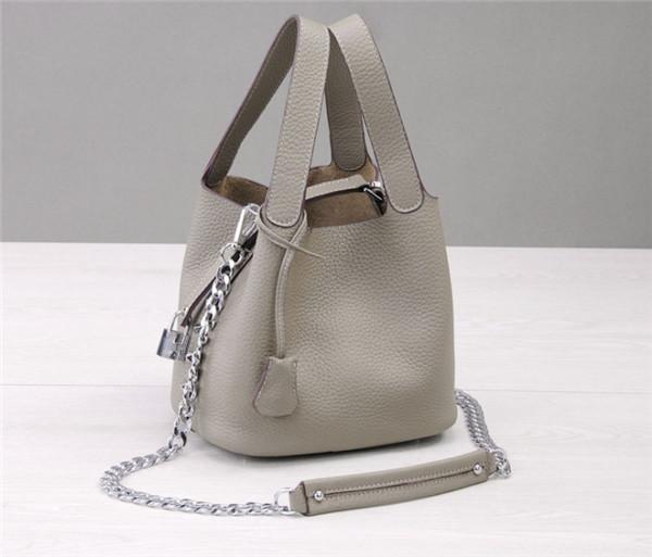Smoke Gray Women Shoulder Bags Natural Leather Mini Bucket Bag