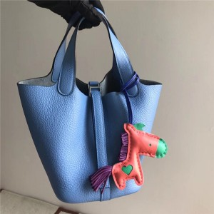 High Quality Light Blue Litchi Cowhide Leather Hand Bags