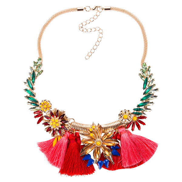 Ladies Bohemian Collarbone Chain Necklace Women Fashion Red Tassel Necklace Set