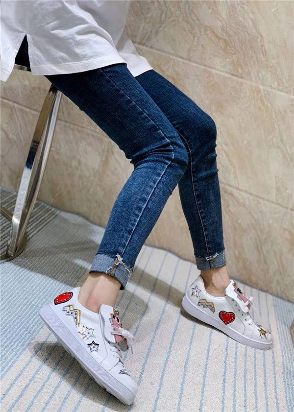 High Quality European Brand Lovers Shoes White Cowhide Fashion Shoes For Couple