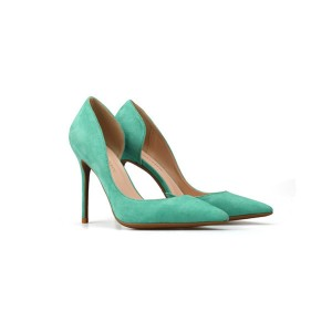 Green Suede Pumps Sexy High Heels
