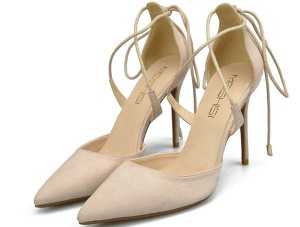 Beige Suede Pointed Shoes Pumps Sandals With Ankle Bandage