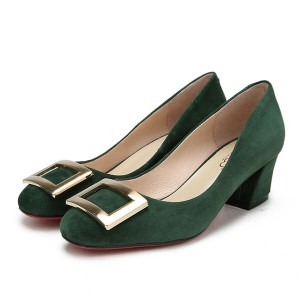 Best Sellers Round Toe Green Suede Shoes For Women