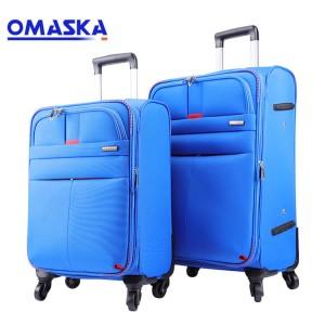 OMASKA 2020 new fashion soft nylon bule 20 24 28 inch business 4 wheels trolley bag