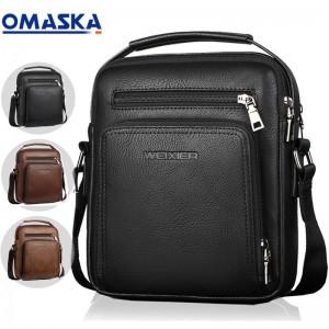 Mens PU leather shoulder messenger bag custom business casual crossbody tote bag Featured Image