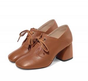 Women Big Heeled Square Toe Lace-Up Black Calfskin Shoes