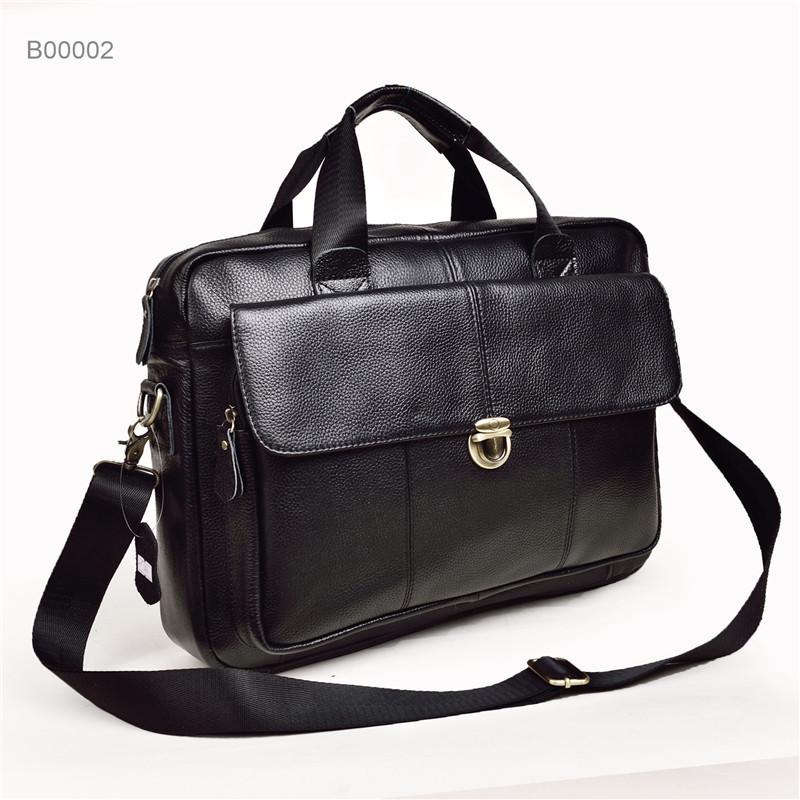 leather men's classical laptop briefcase vintage shoulder bags for men