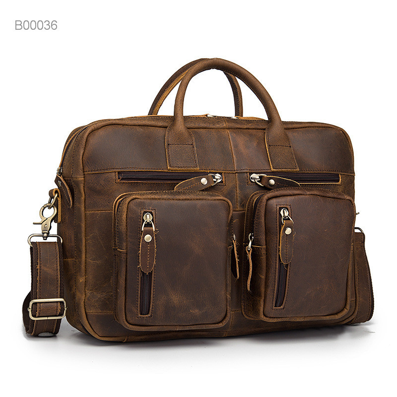 Factory luxury quality briefcase pu leather men's business bag
