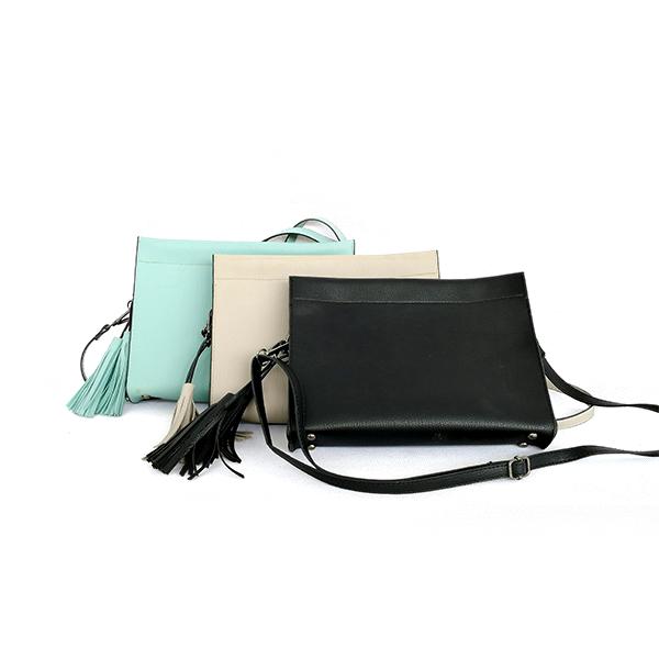 Factory Wholesale New Trend High-end Elegant Fashion Green Black Lady Tassels Single-shoulder Zipper Bag