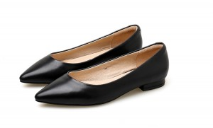 Summer New Black Cowhide Low Heel Pointed Shoes