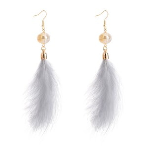 Wholesale Europe And The United States Brand White Feather Earrings Women Earrings