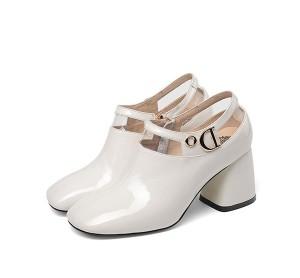 White Patent Leather Women Big Heel Dress Shoes Designer
