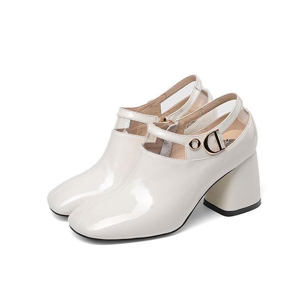 White Patent Leather Women Big Heel Dress Shoes Designer Featured Image