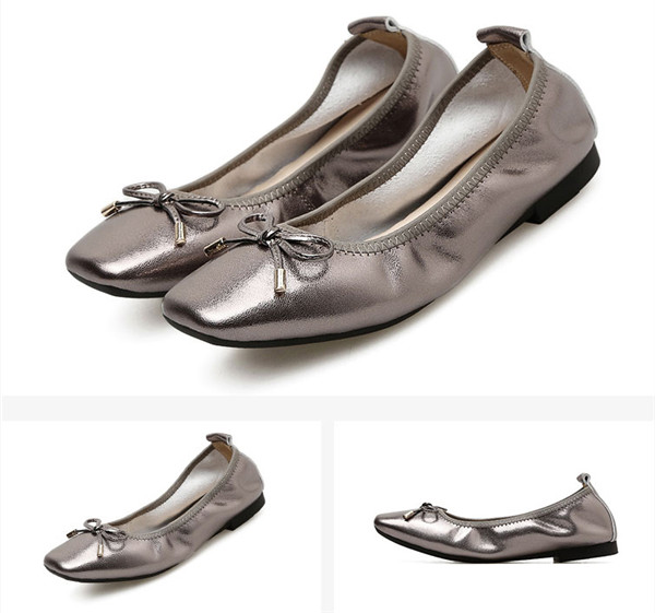 Lady Grey Square Toe Foldable Ladies Shoes Nice Quality Soft Sole Dress Shoes