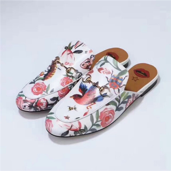 Famous Brand Flower And Bird Print Shoes Outdoor Flat Half-Slippers With Horsebit Buckle
