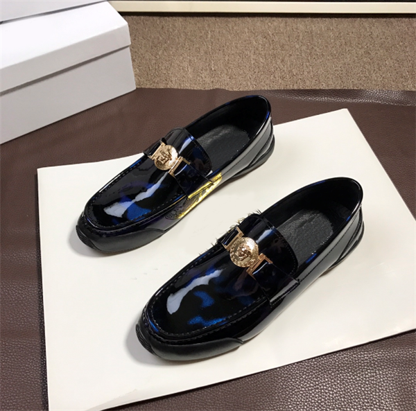 Custom Made Casual Shoes Mens Blue Patent Leather Driving Shoes Customized Size