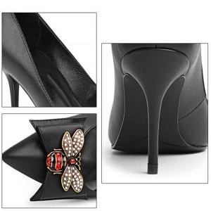 Wholesale Black Sheepskin Sexy Heels