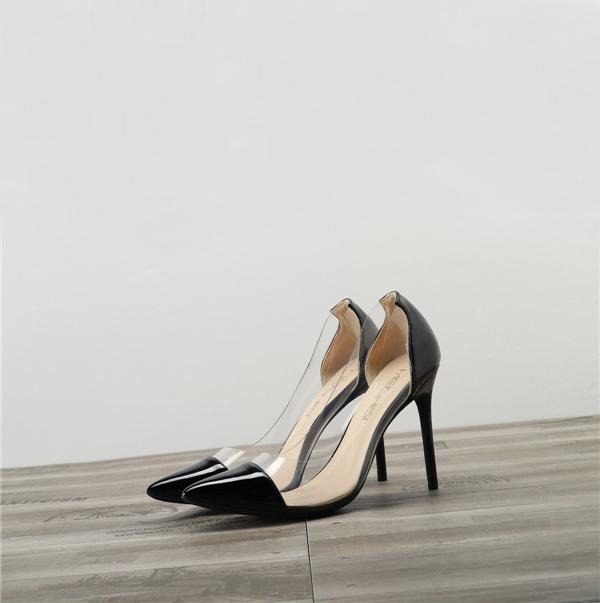 Dropship Women Black Transparent Plastic High Heels