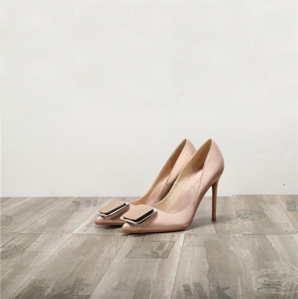 Nude Silk Satin Shoes Ladies