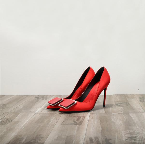 Green Silk Satin Ladies high heels