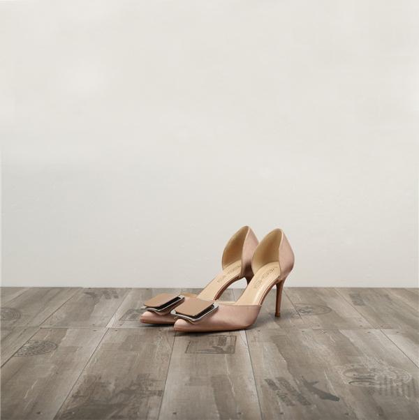 Dropship Nude Silk Satin Women Sexy Heels