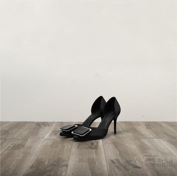 Dropship Black Silk Satin Women Shoes