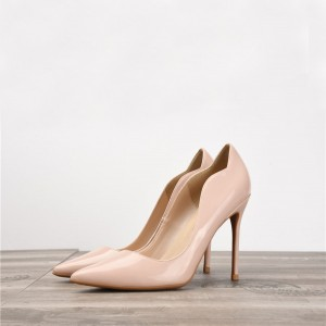 Nude Patent Leather Pointed Stiletto Sexy Pumps Shoes