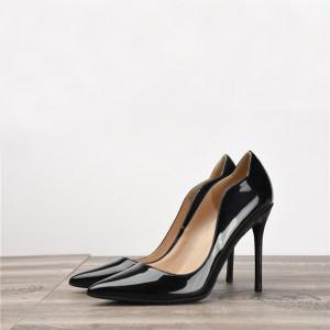 Black Patent Leather Fashion Wavy Designer Shoes Women'S