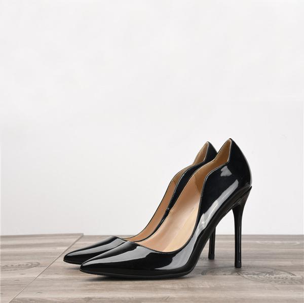 Black Patent Leather Fashion Wavy Designer Shoes Women'S Featured Image