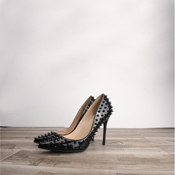 Amazon Best Selling Black Rivet High Heel Pumps For Ladies