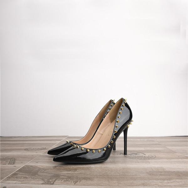 Drop Shipping Amazon Women Rivets Stiletto Heels Black