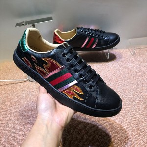 Black Cow Skin Famous Brand Shoes With Flame Embroidery