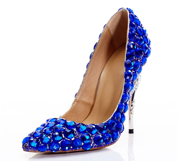 Royal Blue Rhinestone 12cm Hippocampus Heel Shoes Pumps Featured Image