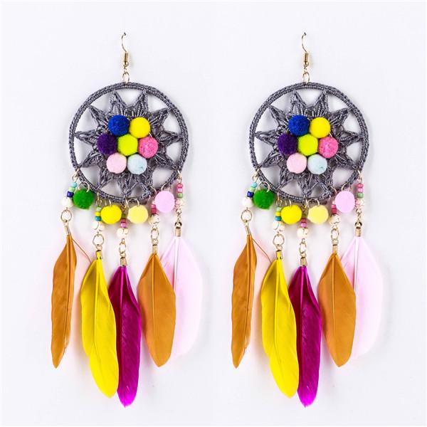 Wholesale Feather Earrings Hairball Earrings Women Fashion Ladies Braid Knitting Earrings