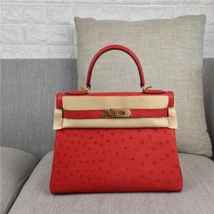 High Quality Fashion Red Ostrich Leather Paris Bags Handbags 28cm 32cm
