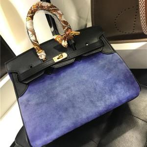 30cm 35cm Purple Suede Women Office Lady Handbag