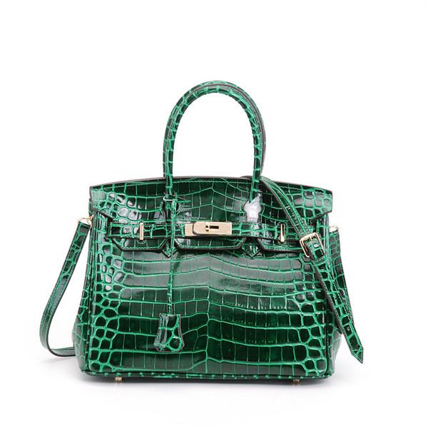 High Quality Women Bag Green Crocodile Grain Cowhide Fashion Bags Handbags