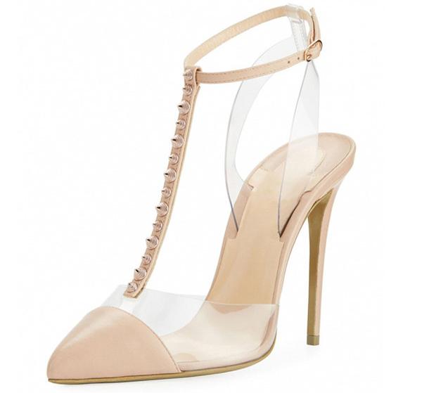 Hot Sale Women Rude Leather Fine Heel Sandals With Rivet Strap