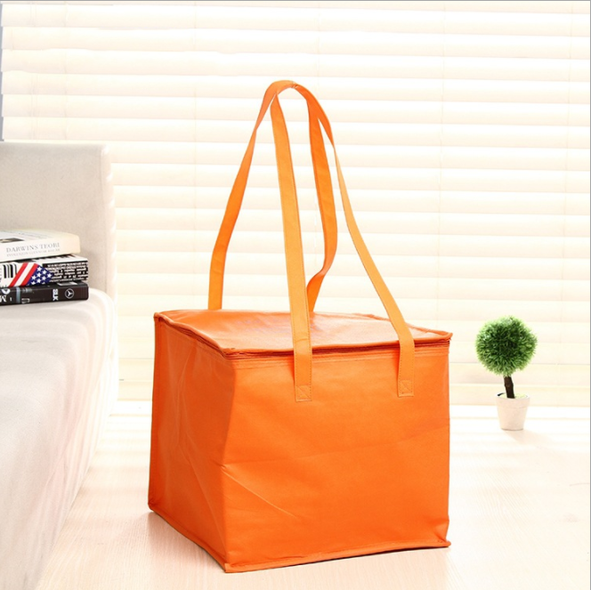 Zipper Customized 6inch 8inch Non-woven Fresh Keeping Tote Bag Orange Non-woven Heat Preservation Bag Portable Picnic Lunch Fresh Keeping Bag